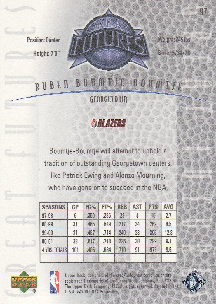 2001-02 Upper Deck Legends #97 Ruben Boumtje-Boumtje RC back image