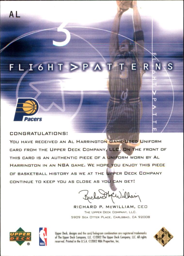2001-02 Upper Deck Flight Team Flight Patterns Gold #AL Al Harrington back image