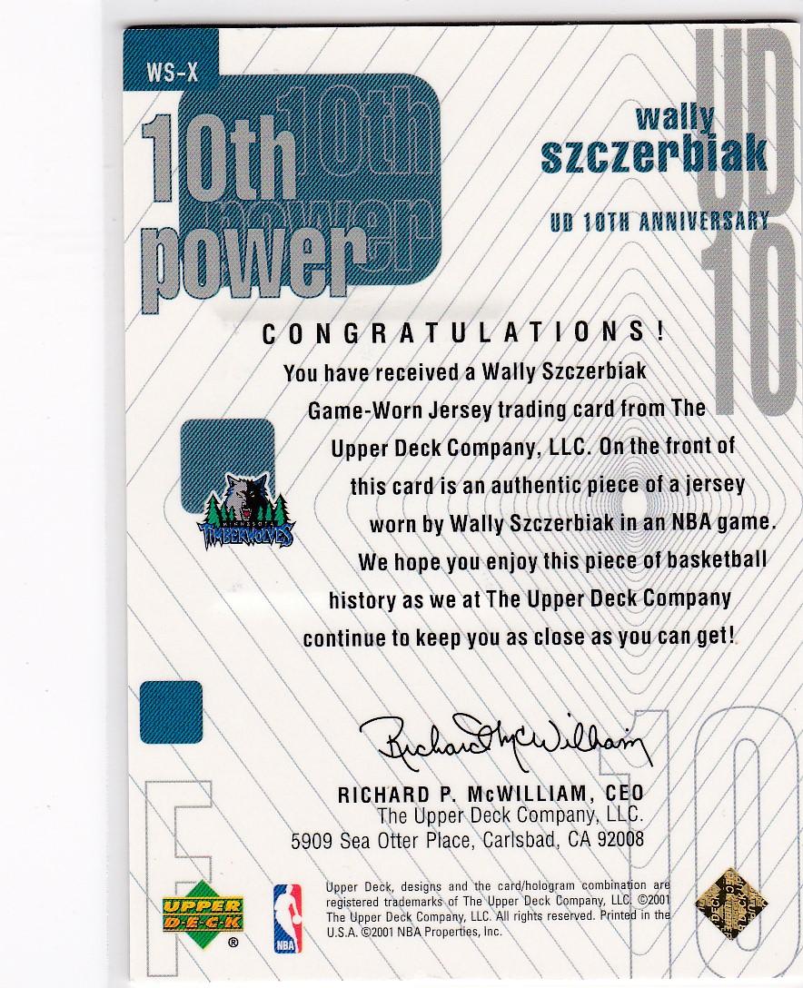 2001-02 Upper Deck 10th Power Game Jerseys #WSX Wally Szczerbiak back image
