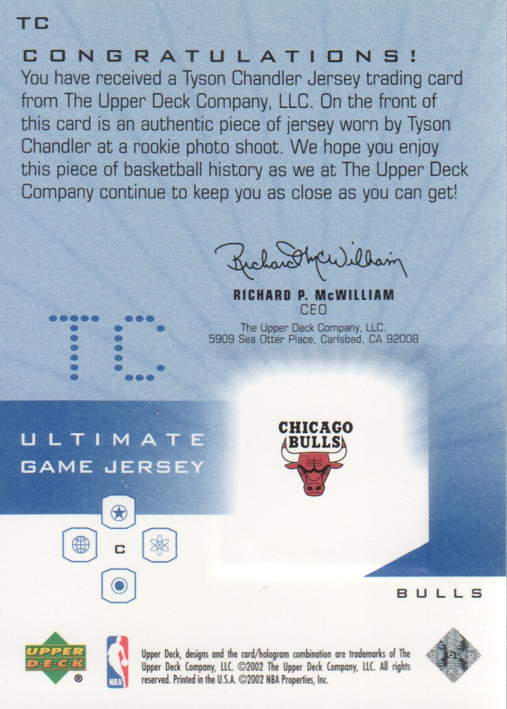 2001-02 Ultimate Collection Jerseys #TC Tyson Chandler back image