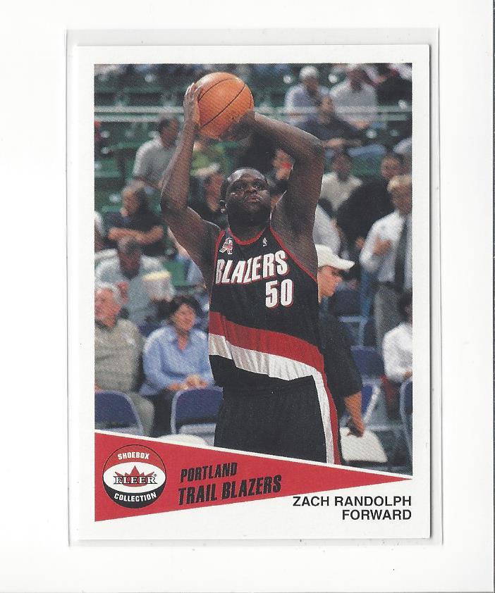 brand new b2a44 6cd9b Details about 2001-02 Fleer Shoebox #167 Zach Randolph RC Blazers Grizzlies  Kings /2500
