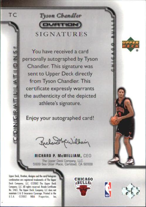 2002-03 Upper Deck Ovation Signatures #TC Tyson Chandler back image