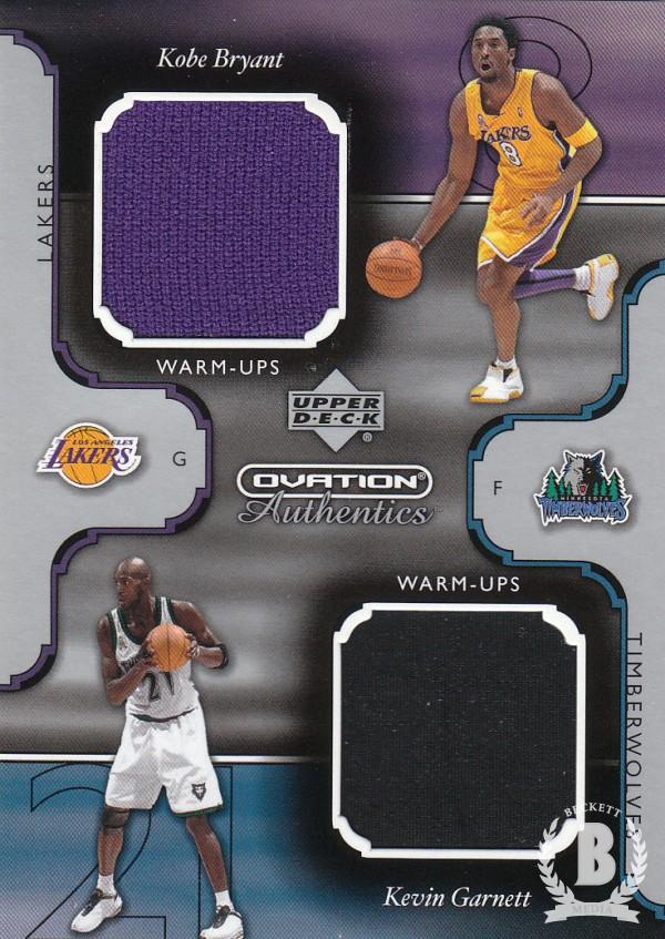 2002-03 Upper Deck Ovation Authentics Warm-Ups Dual #KB/KG Kobe Bryant/Kevin Garnett