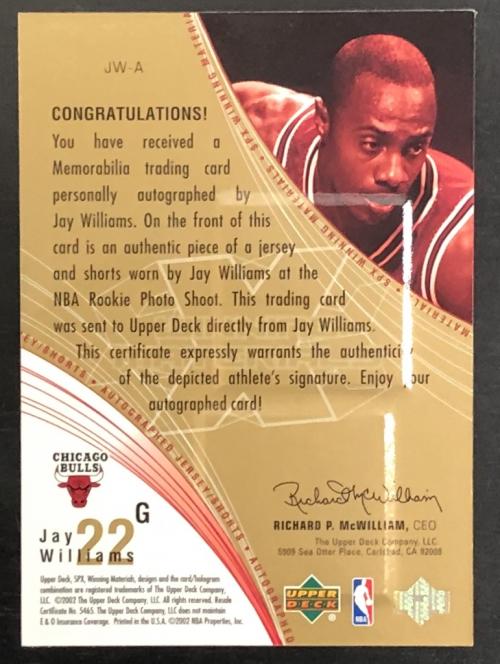 2002-03 SPx Winning Materials Autographs #JWA Jay Williams/100 back image