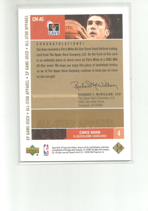 2002-03 SP Game Used All-Star Apparel Gold #CMAS Chris Mihm back image