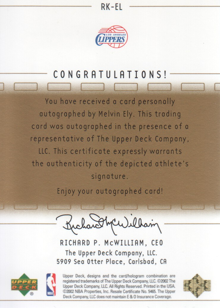 2002-03 SP Game Used UD Rookie Exclusive Autographs #RKEL Melvin Ely back image
