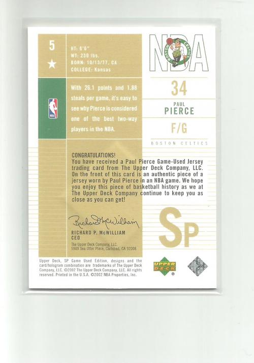2002-03 SP Game Used #5 Paul Pierce SP JSY back image