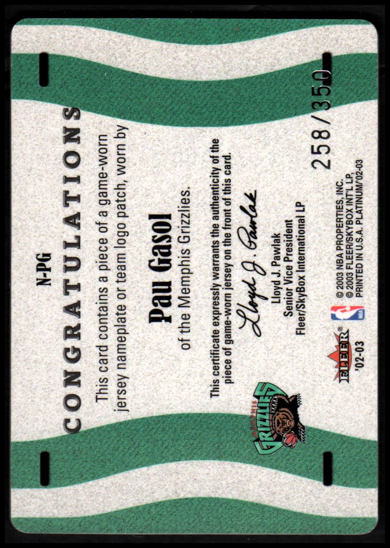 2002-03 Fleer Platinum Nameplates #PG Pau Gasol/350 back image
