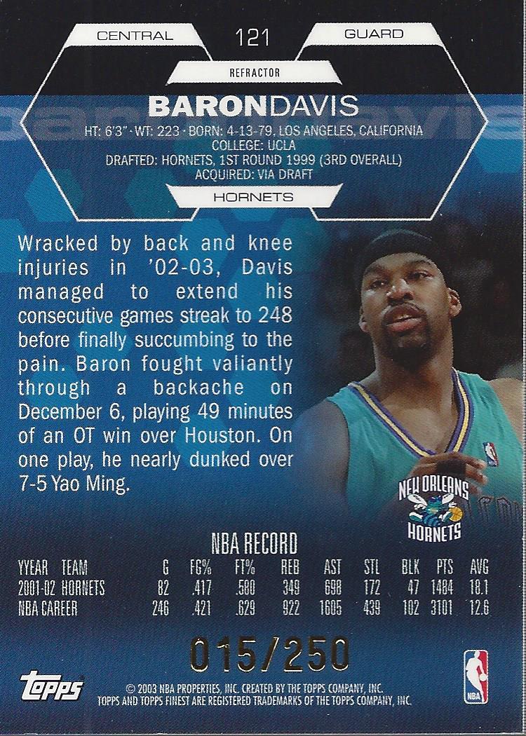 2002-03 Finest Refractors #121 Baron Davis JSY back image