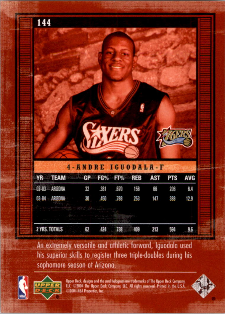 2003-04 Upper Deck Legends #144 Andre Iguodala XRC back image