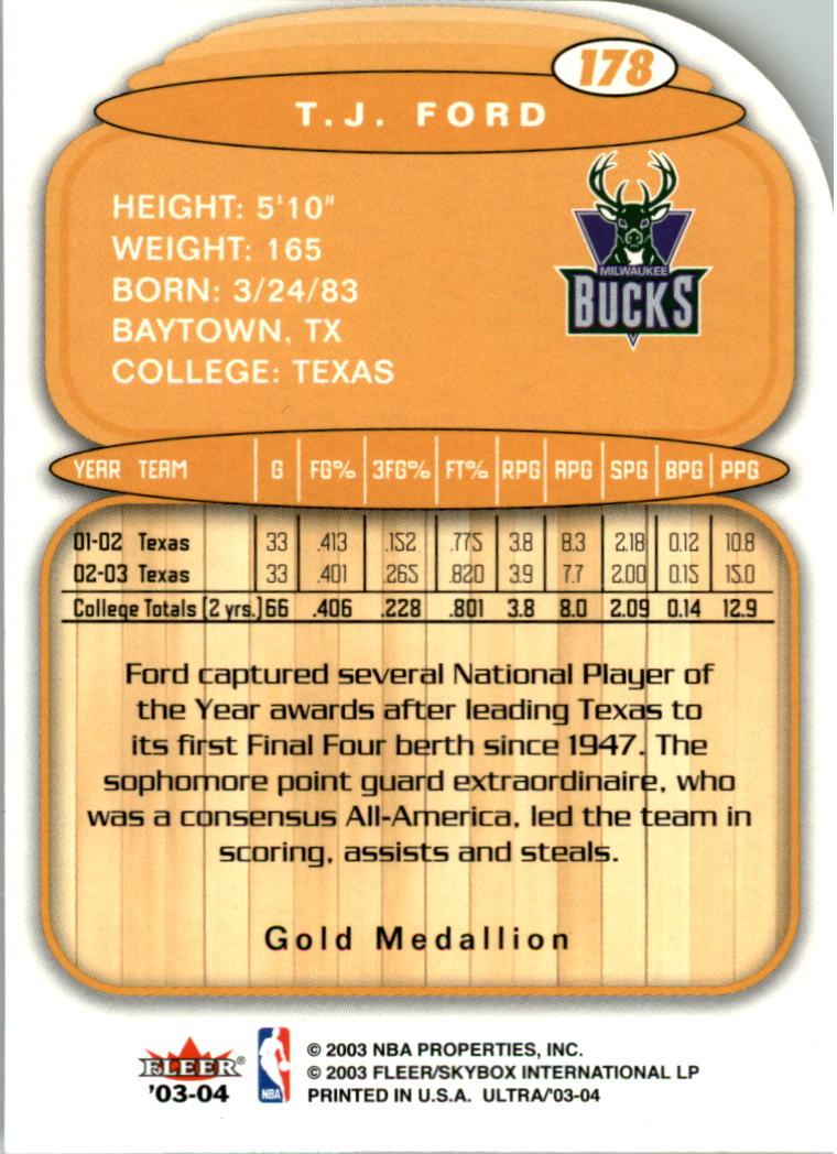 2003-04 Ultra Gold Medallion #178 T.J. Ford L13 back image