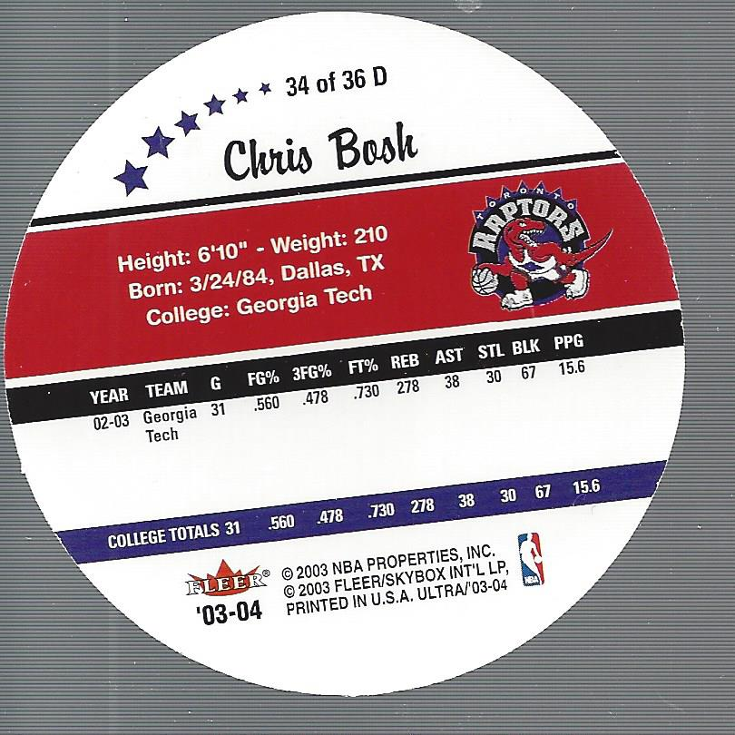 2003-04 Ultra Roundball Discs #34 Chris Bosh back image