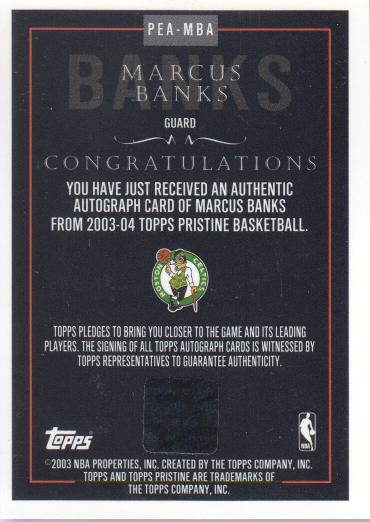 2003-04 Topps Pristine Personal Endorsements #MBA Marcus Banks E back image