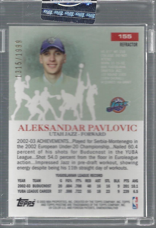 2003-04 Topps Pristine Refractors #155 Aleksandar Pavlovic C back image