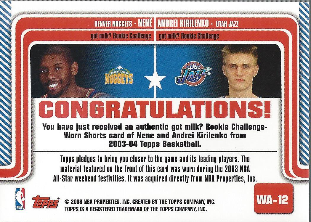 2003-04 Topps Welcome to Atlanta Dual Relics #WA12 Nene/Andrei Kirilenko back image