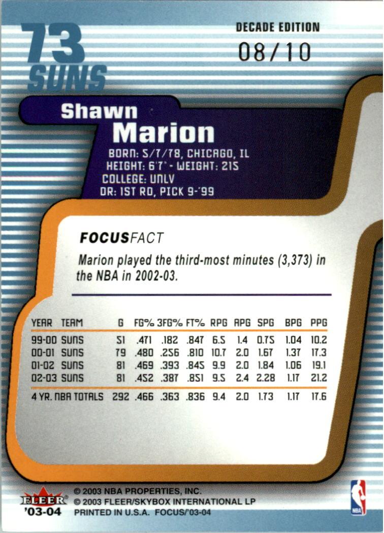 2003-04 Fleer Focus Numbers Decade #73 Shawn Marion back image