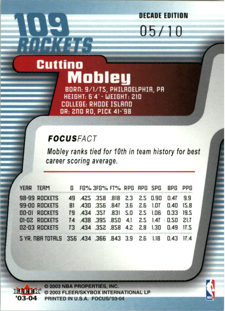 2003-04 Fleer Focus Numbers Decade #109 Cuttino Mobley back image