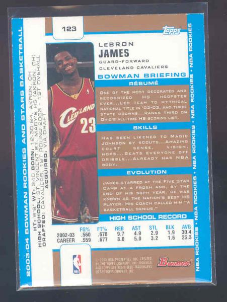 2003-04 Bowman Gold #123 LeBron James back image