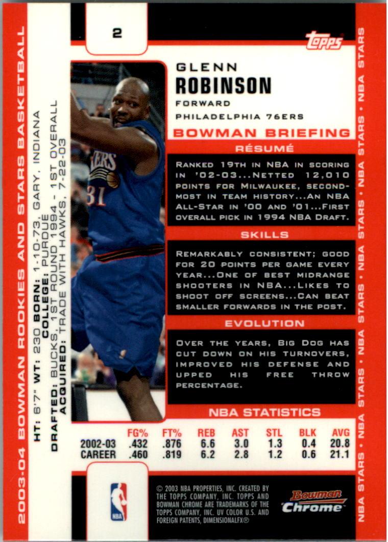 2003-04 Bowman Chrome #2 Glenn Robinson back image