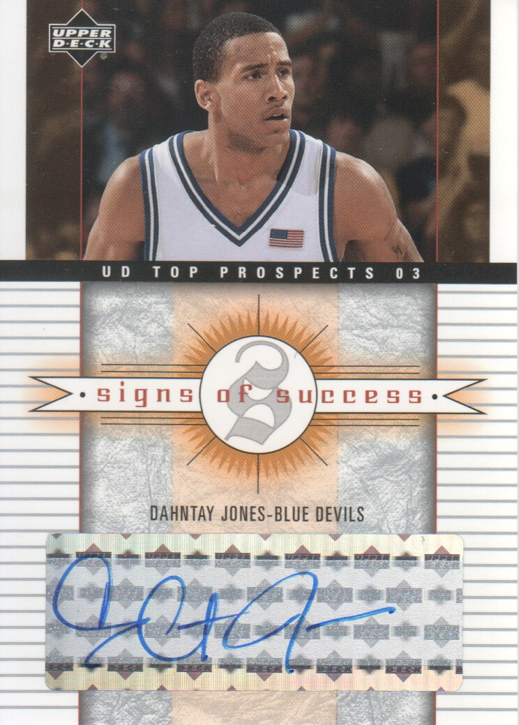 2003-04 UD Top Prospects Signs of Success #SSDJ Dahntay Jones
