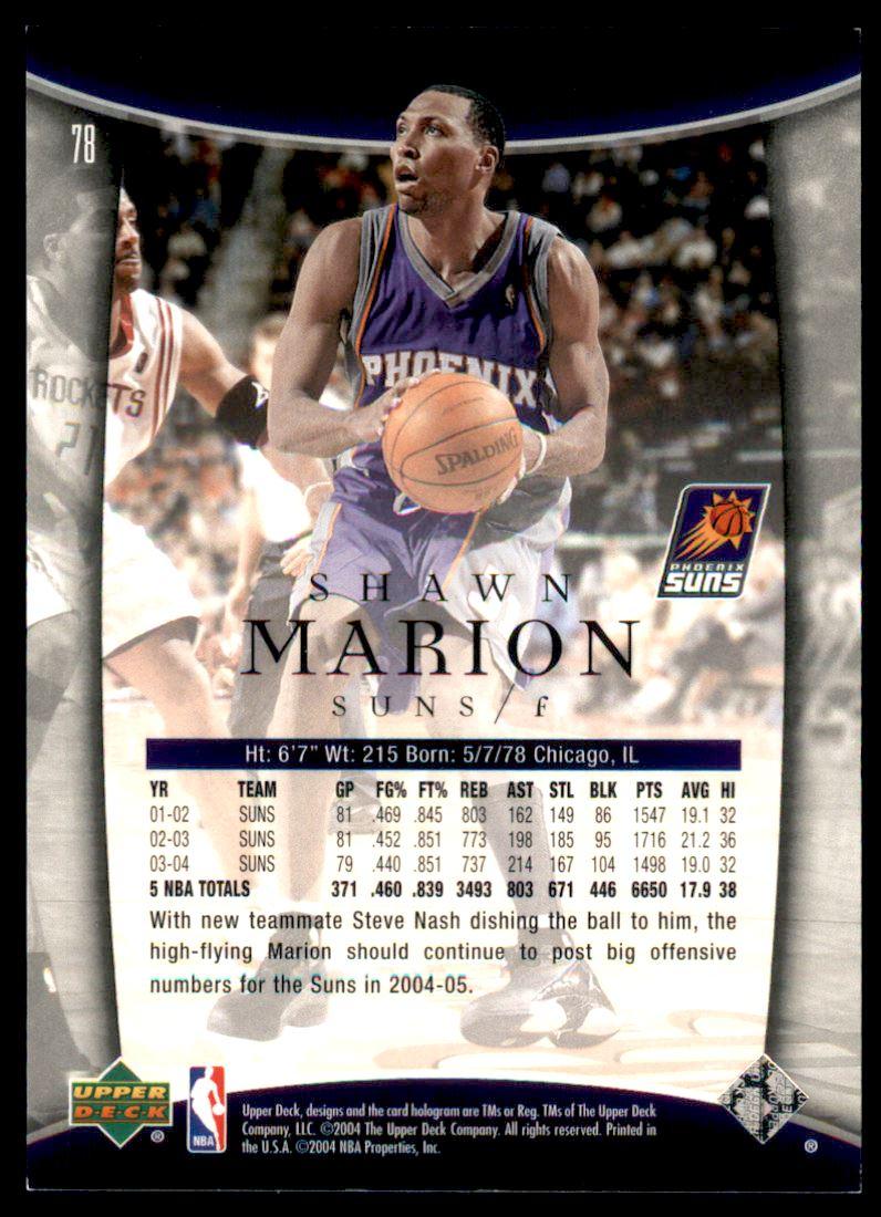 2004-05 Upper Deck Trilogy Spectrum #78 Shawn Marion back image