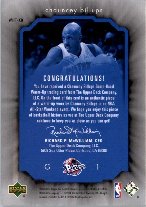 2004-05 Upper Deck All-Star Lineup Weekend Highlights Threads #CB Chauncey Billups back image
