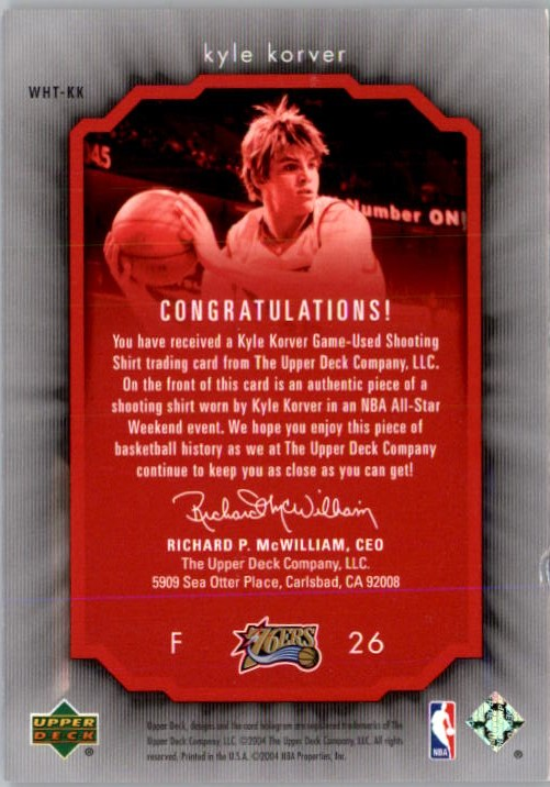 2004-05 Upper Deck All-Star Lineup Weekend Highlights Threads #KK Kyle Korver back image