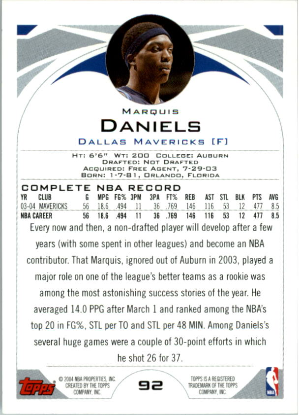 2004-05 Topps First Edition #92 Marquis Daniels back image