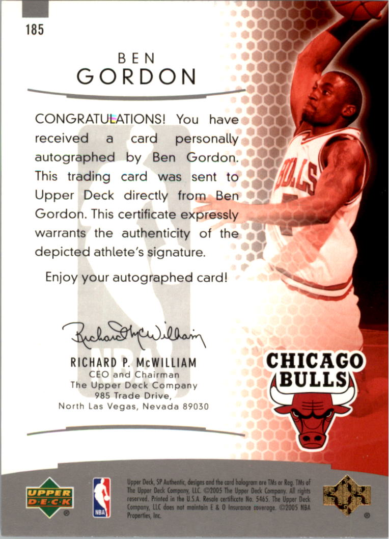 2004-05 SP Authentic Limited #185 Ben Gordon AU back image