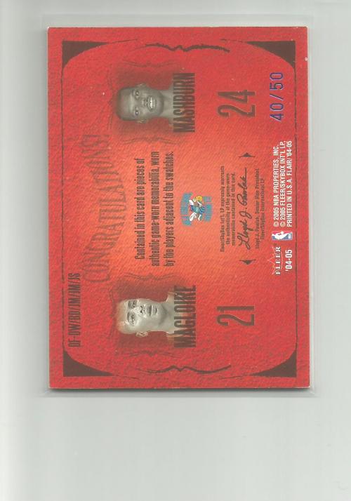 2004-05 Flair Dynasty Foundations Patches Dual #9 David West/Baron Davis JSY/Jamal Mashburn/Jamaal Magloire/J.R. Smith JSY back image