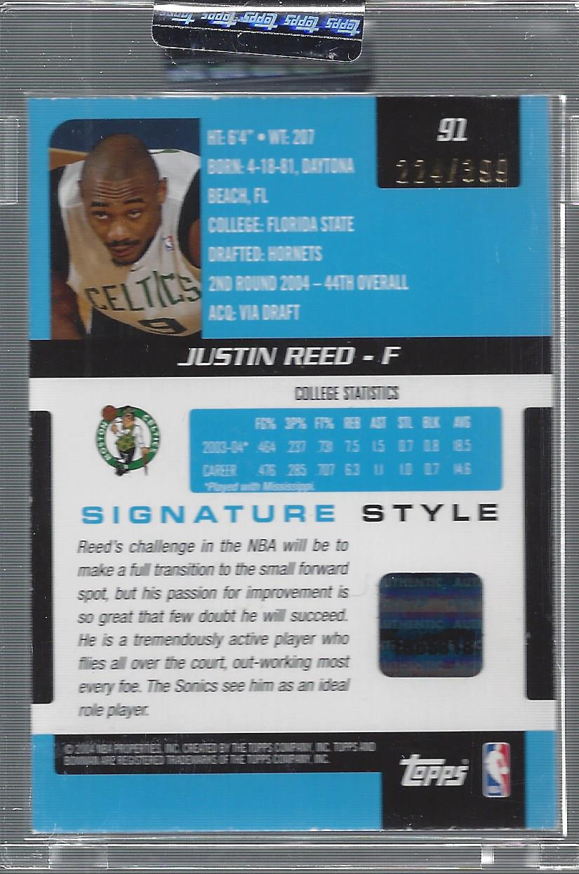2004-05 Bowman Signature Edition #91 Justin Reed AU RC back image