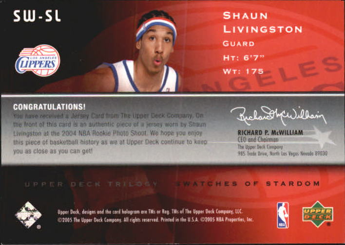 2004-05 Upper Deck Trilogy Swatches of Stardom #SL Shaun Livingston back image