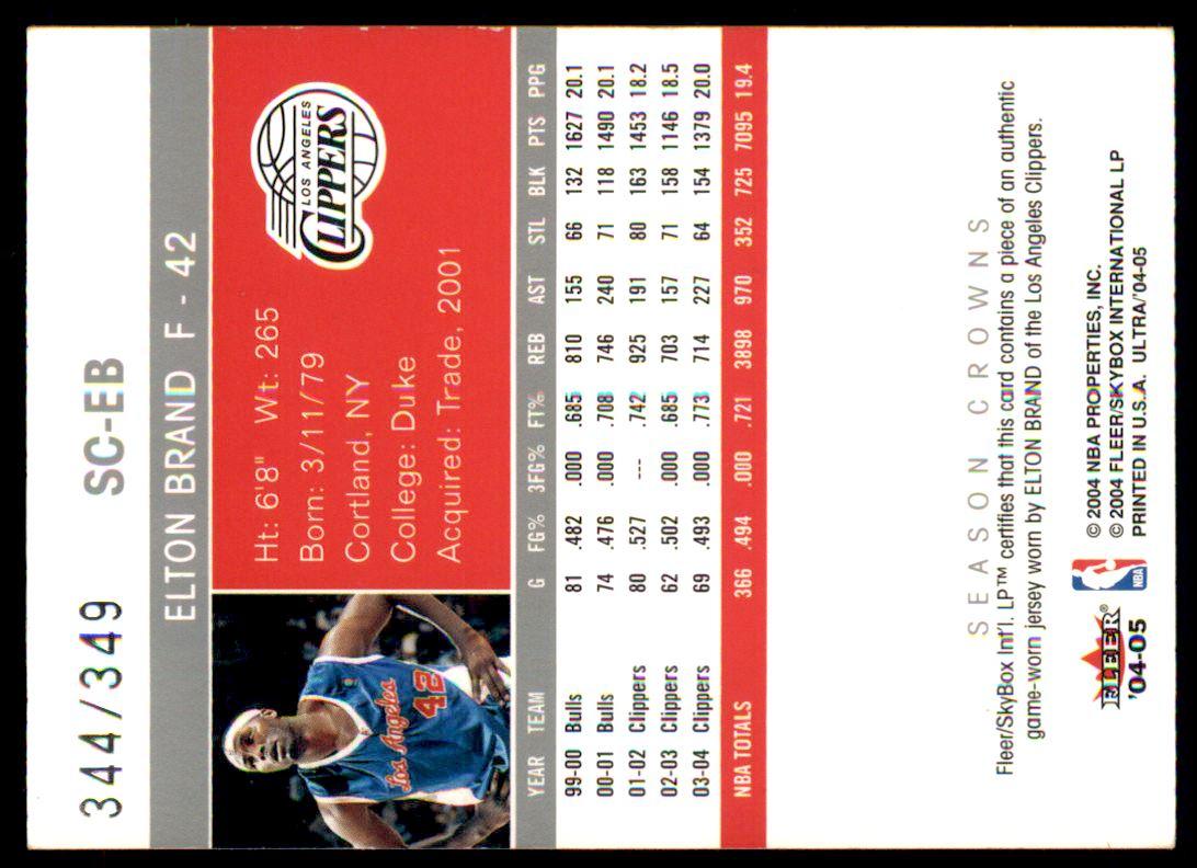 2004-05 Ultra Season Crowns Game Used #EB Elton Brand back image