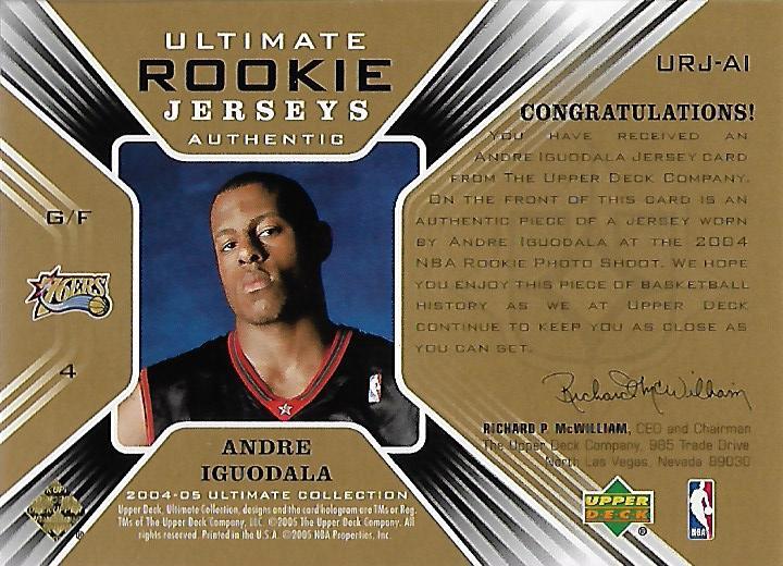 2004-05 Ultimate Collection Rookie Jerseys #AI Andre Iguodala back image