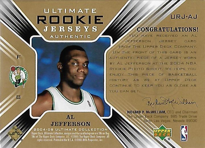 2004-05 Ultimate Collection Rookie Jerseys #AJ Al Jefferson back image