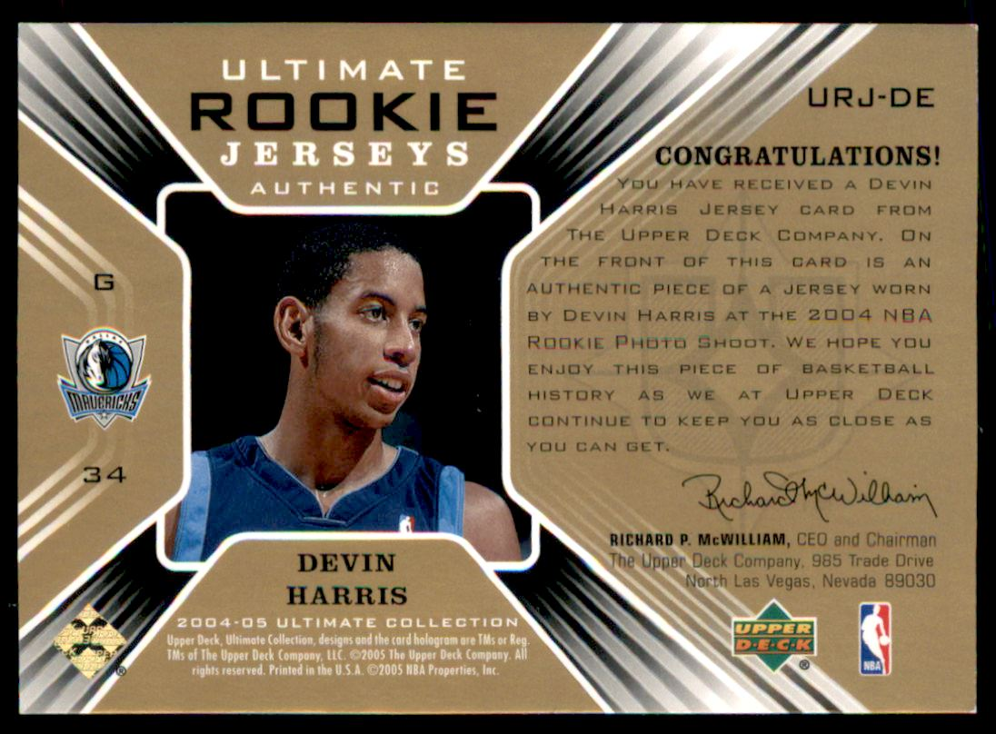2004-05 Ultimate Collection Rookie Jerseys #DE Devin Harris back image