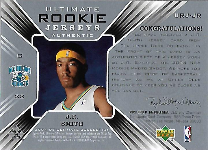 2004-05 Ultimate Collection Rookie Jerseys Parallel #JR J.R. Smith back image