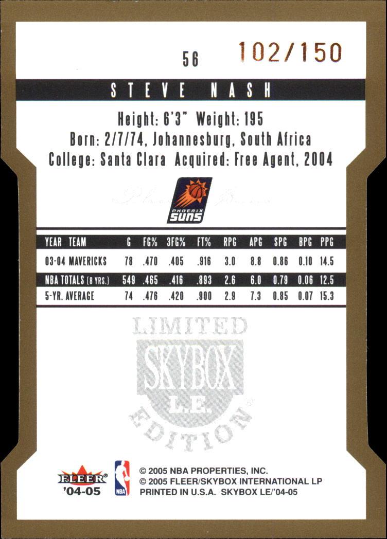 2004-05 SkyBox LE 150 #56 Steve Nash back image