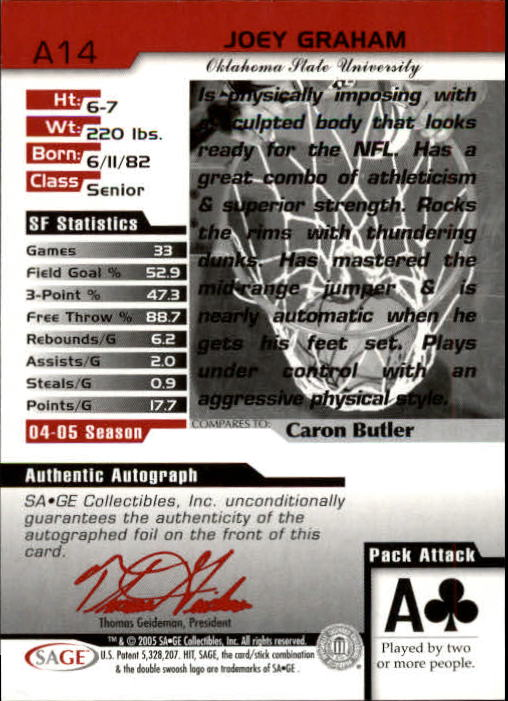 2005 SAGE HIT Autographs Gold #A14 Joey Graham back image