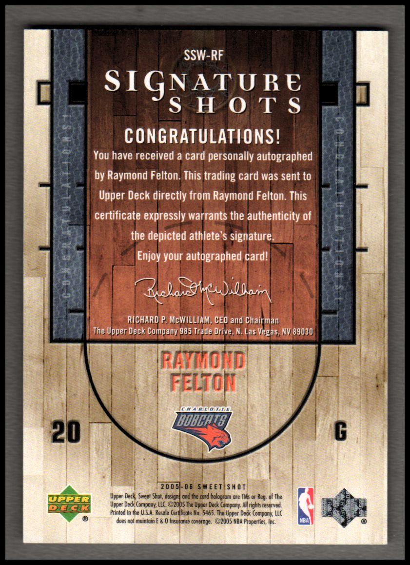 2005-06 Sweet Shot Signature Shots Wood #RF Raymond Felton/35 back image