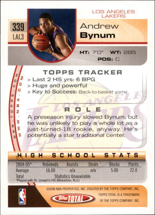 2005-06 Topps Total #339 Andrew Bynum RC back image