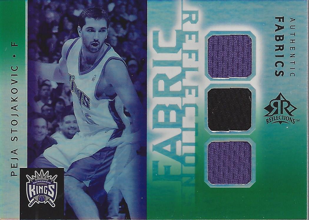 2005-06 Reflections Fabrics Triple Swatch Green #PS Peja Stojakovic