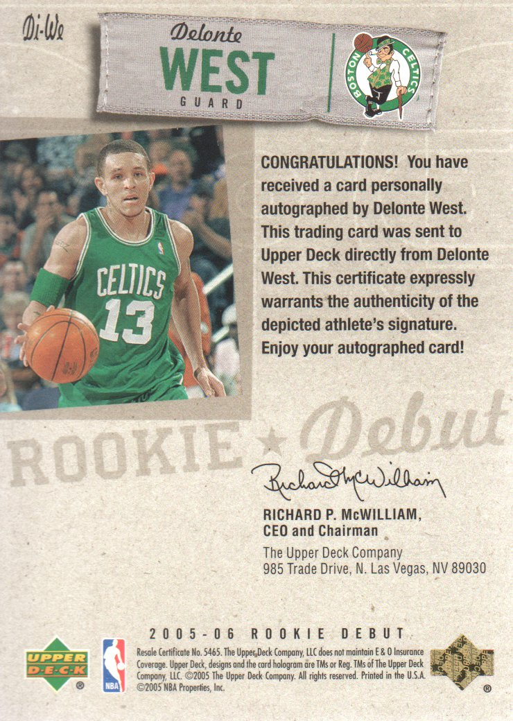 2005-06 Upper Deck Rookie Debut Ink #WE Delonte West back image