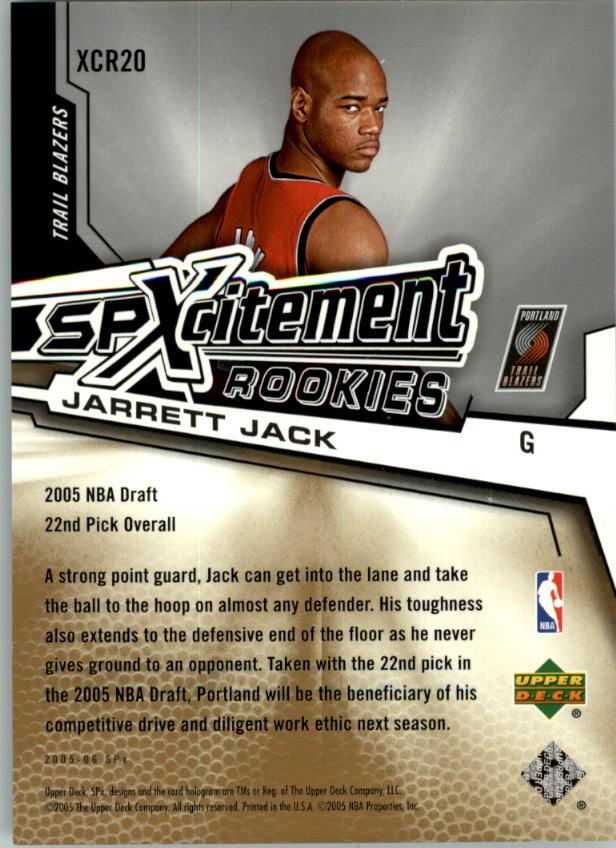 2005-06 SPx SPxcitement Rookies #XCR20 Jarrett Jack back image