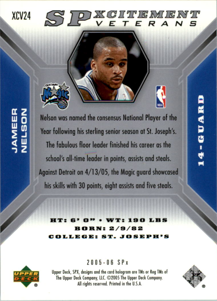 2005-06 SPx SPxcitement Veterans Spectrum #XCV24 Jameer Nelson back image