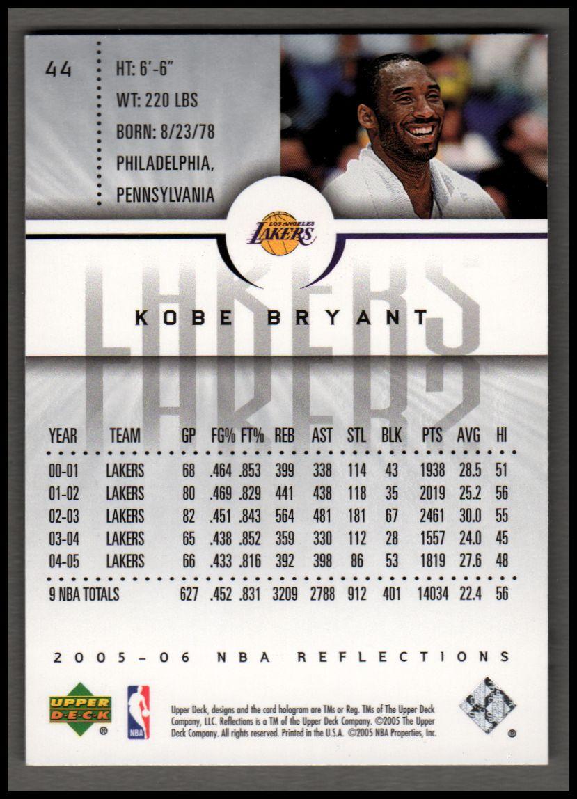 2005-06 Reflections Purple #44 Kobe Bryant back image