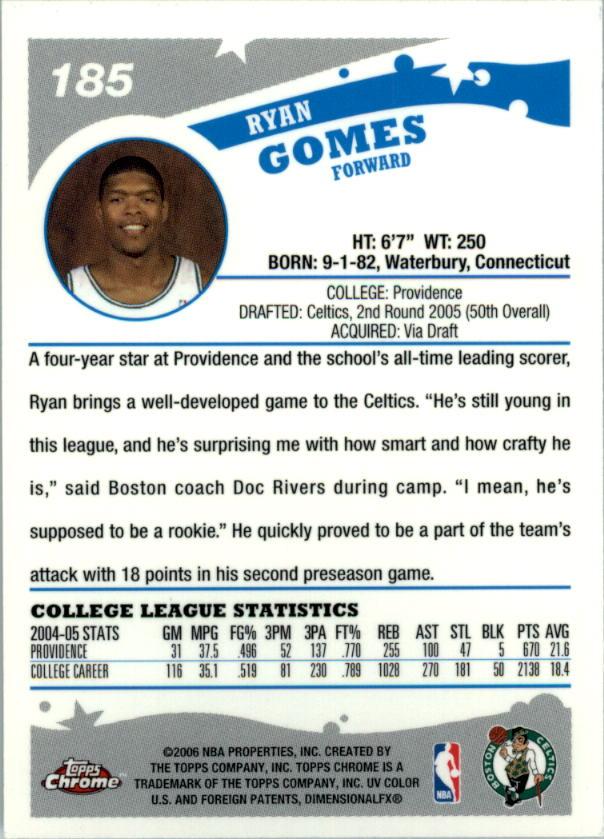 2005-06 Topps Chrome #185 Ryan Gomes RC back image