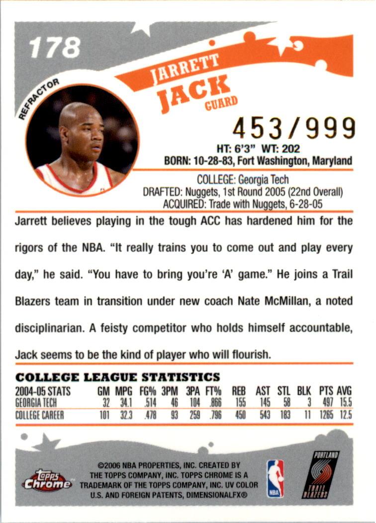 2005-06 Topps Chrome Refractors #178 Jarrett Jack back image