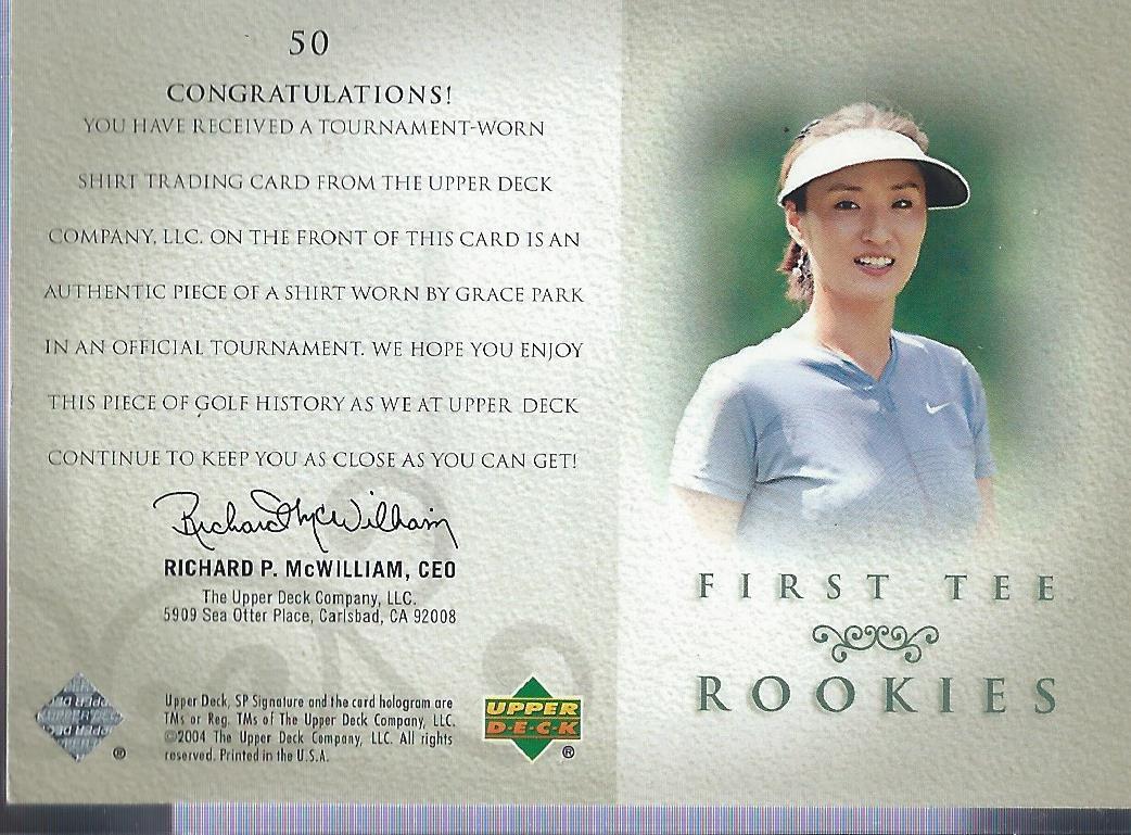 2004 SP Signature #50 Grace Park Shirt RC back image