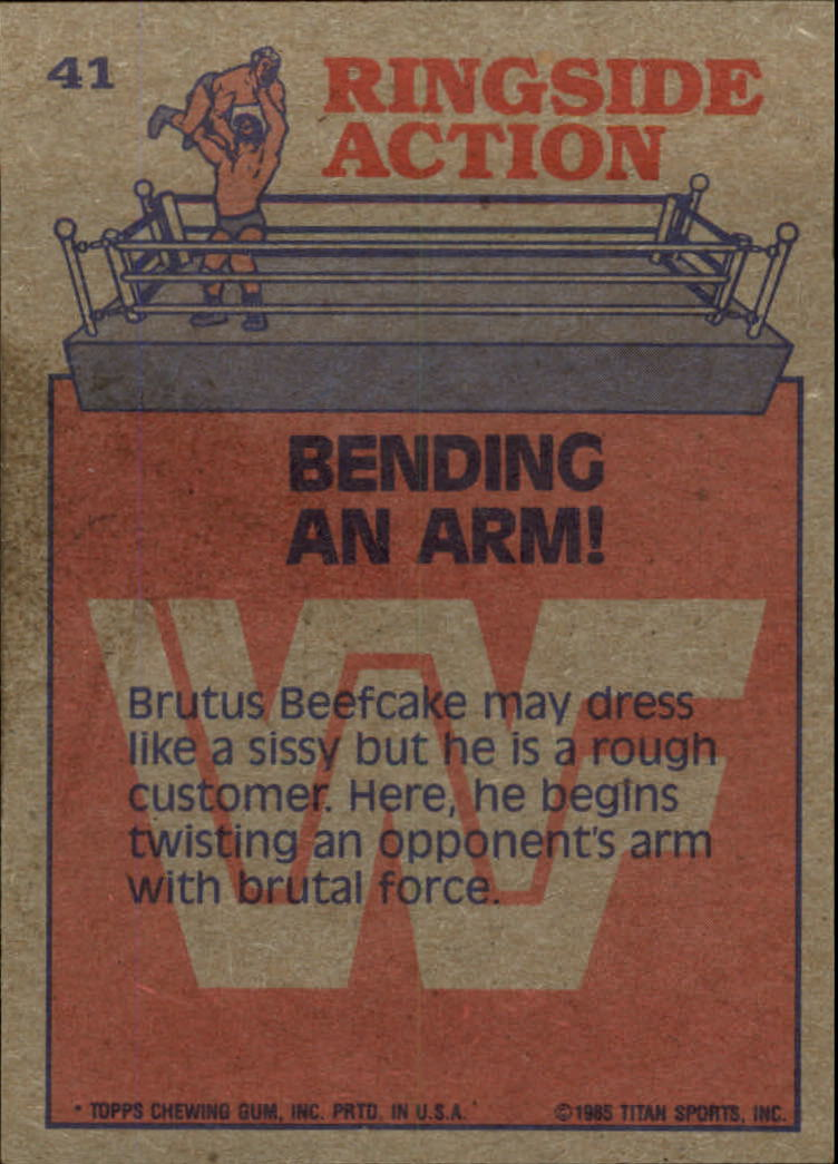 1985 Topps WWF #41 Bending an Arm! RA back image